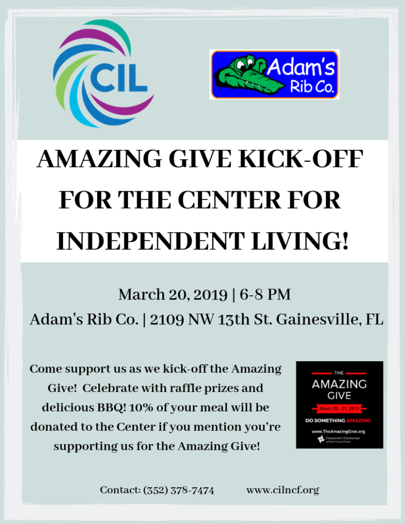 Amazing Give Only One Week Away Center For Independent Living Of North Central Florida
